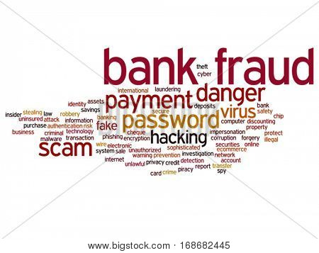 Vector concept or conceptual bank fraud payment scam danger abstract word cloud isolated on background metaphor to money analysis, business fund balance, estate, mortgage, safe refinance solution
