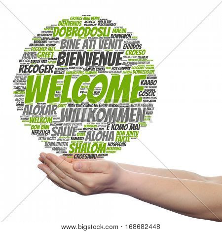 Concept conceptual abstract welcome or greeting international word cloud in hand, different languages  multilingual isolated metaphor to world, foreign, worldwide, travel, translate, vacation  tourism