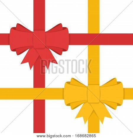 Ribbon bows in modern flat style. Bows red and yellow color isolated on white. Vector illustration decorative element. Colourful satin stretching line. Holiday concept. Cartoon style.