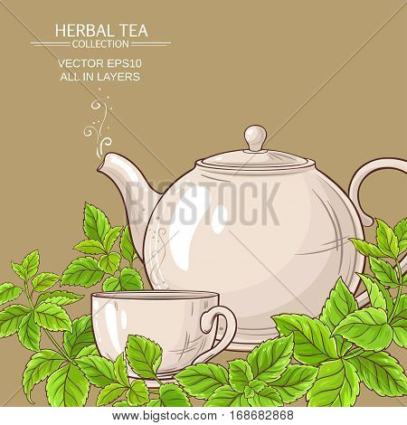 cup of melissa tea and teapot on color background
