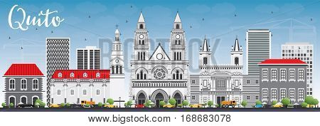 Quito Skyline with Gray Buildings and Blue Sky. Vector Illustration. Business Travel and Tourism Concept with Historic Architecture. Image for Presentation Banner Placard and Web Site.