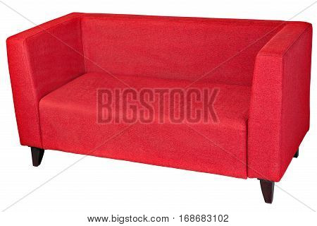 Red fabric 2 seater sofa isolated on white clipping path saved.