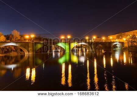 Sunset over Ebro River in Logrono, La rioja Region from Spain