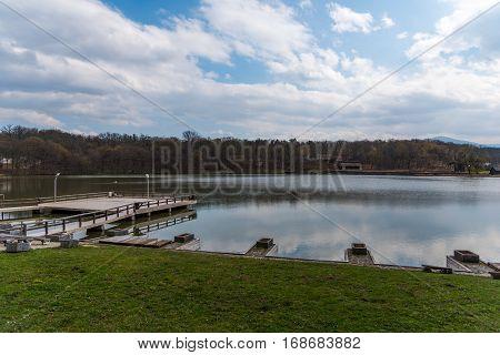 Beautiful Lake  in Sibiu from Romania shot in autumn