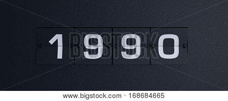 3d rendering flip board year 1990 background