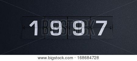 3d rendering flip board year 1997 background