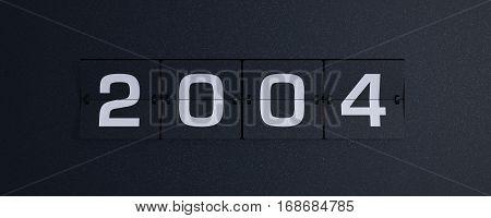 3d rendering flip board year 2004 background