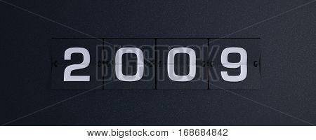 3d rendering flip board year 2009 background