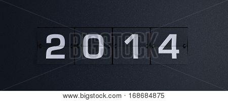 3d rendering flip board year 2014 background