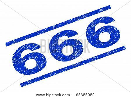 666 watermark stamp. Text caption between parallel lines with grunge design style. Rotated rubber seal stamp with unclean texture. Vector blue ink imprint on a white background.
