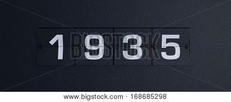3d rendering flip board year 1935 background