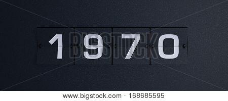 3d rendering flip board year 1970 background