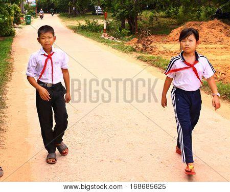 Asian Vietnamese Preteen Pioner Kids