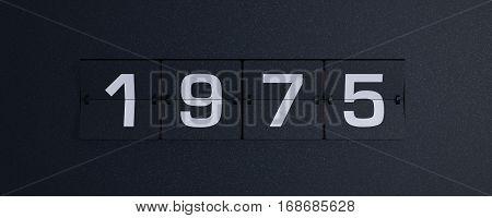 3d rendering flip board year 1975 background