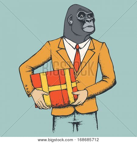 Monkey vector concept. Illustration of African gorilla in human suit. Monkey with gift