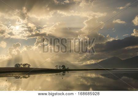 Cloudy evening on Loch Laich near Port Appin Highlands Scotland