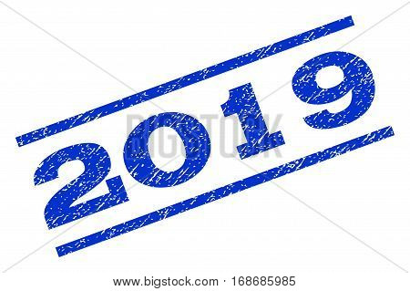 2019 watermark stamp. Text tag between parallel lines with grunge design style. Rotated rubber seal stamp with dust texture. Vector blue ink imprint on a white background.