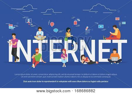 Internet addicted people concept illustration of young men and women using devices such as laptop, smartphone, tablets. Flat design of people addicted to gadgets sitting on the bid letters with social media symbols