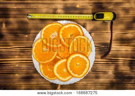 Dish Of Sliced Oranges. Food Pattern