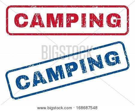 Camping text rubber seal stamp watermarks. Vector style is blue and red ink caption inside rounded rectangular shape. Grunge design and scratched texture. Blue and red signs.