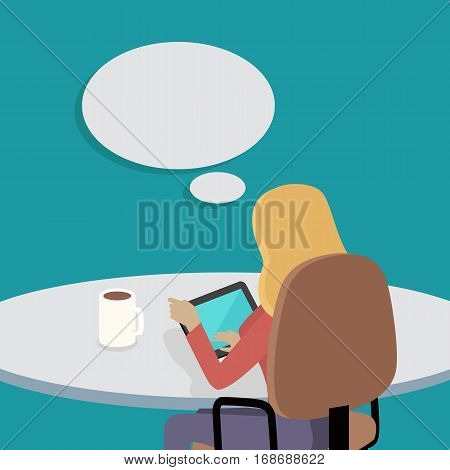 Woman sitting on chair with gadget and dreaming about something. Back view. Women at work. Endless work seven days a week. Working moments. Part of series of work at the office. Vector illustration
