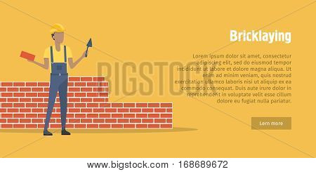 Bricklaying. Worker in helmet and red robe holding brick and spatula in hands. Young and energetic man standing near unfinnished, red brick wall. Orange background. Flat design. Vector illustration