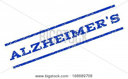 Alzheimer'S watermark stamp. Text tag between parallel lines with grunge design style. Rotated rubber seal stamp with dirty texture. Vector blue ink imprint on a white background.