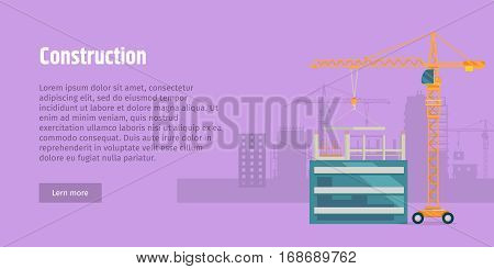 Construction. Laying big flagstone by truck crane on unfinished glass building. Yellow industrial truck on wheels. Violet background. Some houses on the background. Flat design. Vector illustration.
