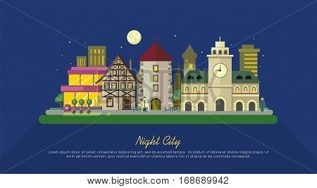 Night city. City street vector illustration at night. Urban city landscape web banner. Building architecture in unusual fashionable design. Modern town. Metropolis panorama. Flat style poster
