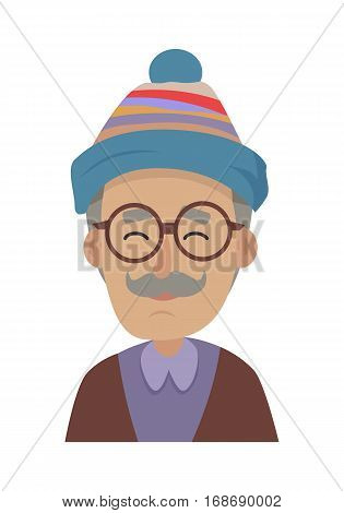 Hat. Old smiling man with grey mustache wearing blue striped cap and round glasses. Hat with violet, red and silver stripes. Violet skirt with collar. Brown sweater. Flat design. Vector illustration