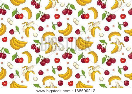 Seamless background with cherries and bananas. Vector icons