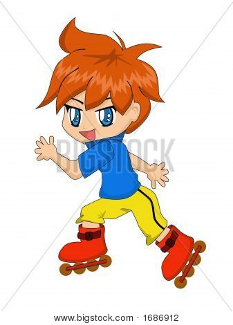 Cute Cartoon Boy Roller-Blading