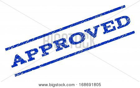 Approved watermark stamp. Text tag between parallel lines with grunge design style. Rotated rubber seal stamp with dirty texture. Vector blue ink imprint on a white background.