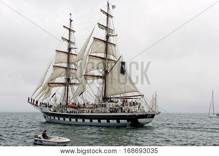 VARNA, BULGARIA - MAY 03, 2014: Historical seas Tall Ship Regatta 2014. The Pakistan tall ship
