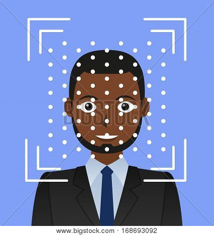 Biometrical identification. Facial recognition system concept. African american man. Vector illustration