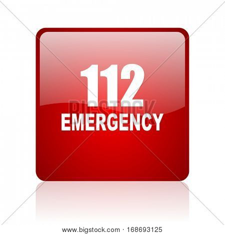 number emergency 112 red square web glossy icon