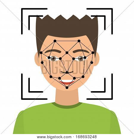Biometrical identification. Facial recognition system concept. Asian man. Vector illustration