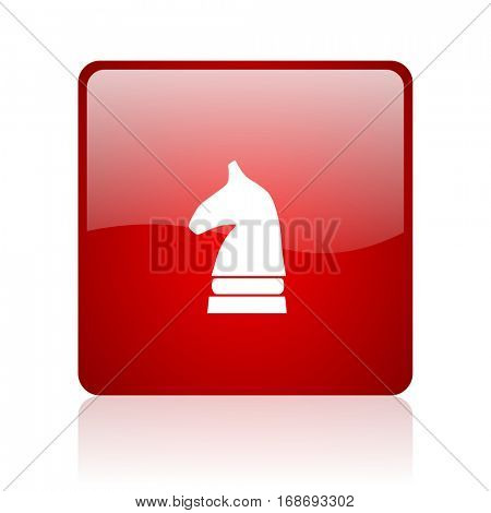 chess horse red square web glossy icon