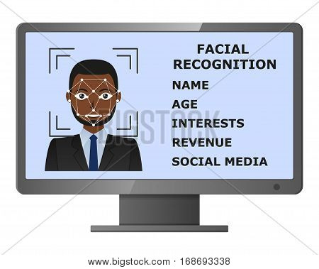 Biometrical identification. Facial recognition system concept. Face recognition program on monitor. African american man. Vector illustration