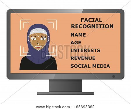 Biometrical identification. Facial recognition system concept. Face recognition program on monitor. Arab woman. Vector illustration.