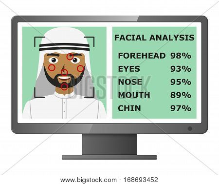 Biometrical identification. Facial recognition system concept. Face recognition program on monitor. Arab man. Vector illustration