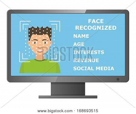 Biometrical identification. Facial recognition system concept. Face recognition program on monitor. Asian man. Vector illustration