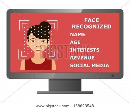 Biometrical identification. Facial recognition system concept. Face recognition program on monitor. Asian woman. Vector illustration