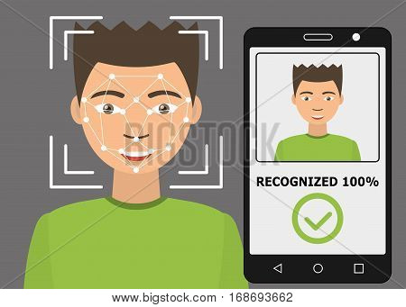 Biometrical identification. Facial recognition system concept. Mobile app for face recognition. Asian man. Vector illustration