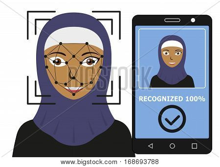 Biometrical identification. Facial recognition system concept. Mobile app for face recognition. Arab woman. Vector illustration
