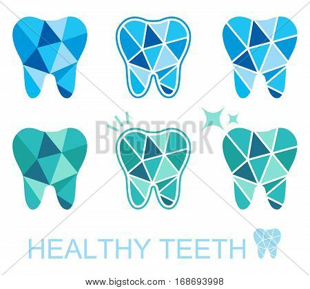 Tooth logo set. Vector illustration for dental clinic branding with teeth in modern style - polygonal low poly in blue and white