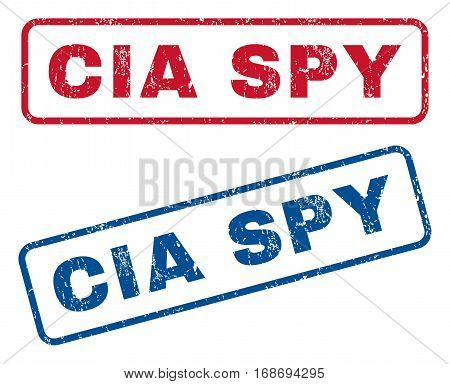 CIA Spy text rubber seal stamp watermarks. Vector style is blue and red ink tag inside rounded rectangular banner. Grunge design and unclean texture. Blue and red stickers.