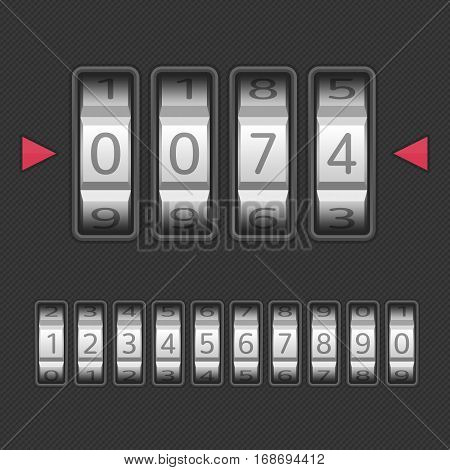 Combination, number code Lock. Vector illustration of a combination lock set with all ten numbers. Protection, security concept. Keypad entry. Realistic style.