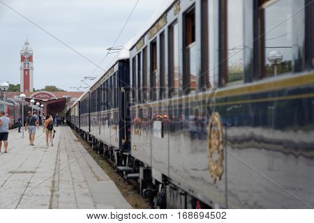 VARNA, BULGARIA - SEPTEMBER 3:The legendary Orient Express arrives at station in Varna on September 3, 2013 in Varna Bulgaria. The luxury train travels between Paris and Istanbul.