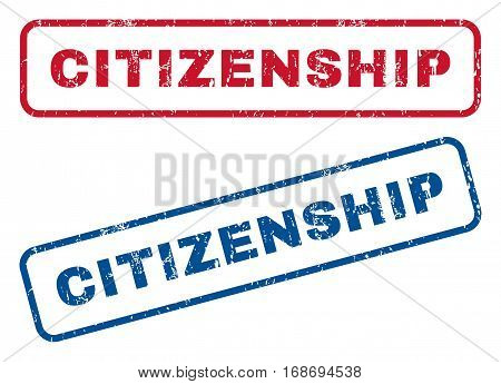 Citizenship text rubber seal stamp watermarks. Vector style is blue and red ink tag inside rounded rectangular banner. Grunge design and dirty texture. Blue and red stickers.